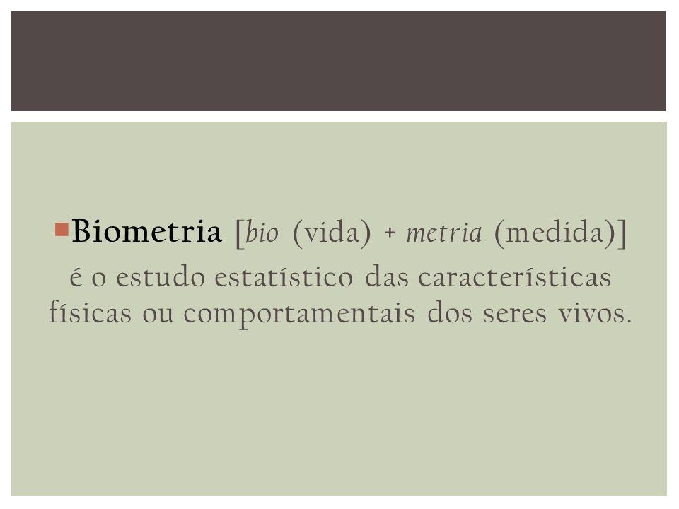 Biometria [bio (vida) + metria (medida)]
